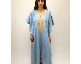 Sky Dress // vintage 70s 1970s boho blue ethnic cotton maxi Indian kaftan caftan tunic embroidered angel sleeves dashiki hippie hippy // O/S