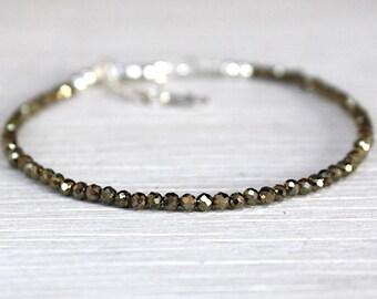 Bracelet fine woman faceted pyrite gem stones