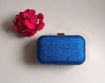 Blue Glitter Frame Clutch Bag