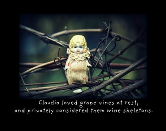Notecard Photo Card Macabre China Doll Adventures of Claudia Loved Grape Vines At Rest Wine Stationary