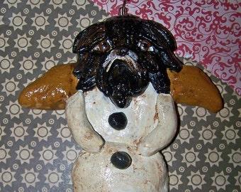Folk Art Shih Tzu Dog Ornament Snow Angel Doll Vintage Nostalgic Style Whimsical