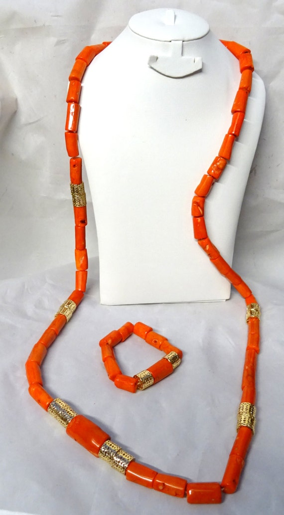 Long Men Traditional Long Coral African Nigerian Beads