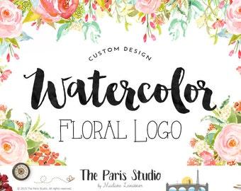 Aquarell Blumen Logo Fotografie Logo individuelles Logo Design handgezeichneten Logo Website Logo Blog Logo Business Boutique Logo Hochzeit Veranstaltung Logo