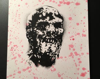"Zombie lucio fulci screen printed horror comic art 9"" x 5.25"" - 9"" x 6.5"" handmade//horror decor//home decoration// the walking dead"