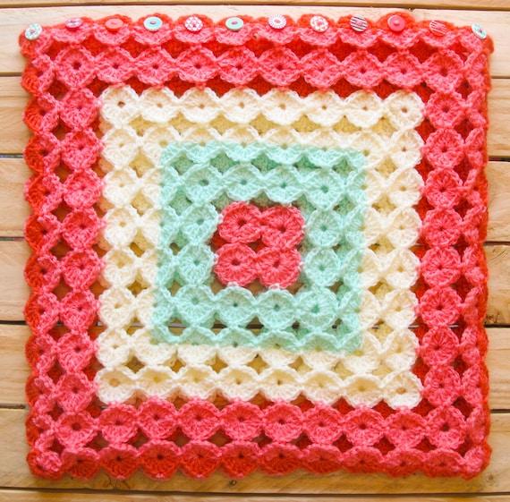 Abdeckung für quadratische Kissen Muster Oma rosa Farben rot
