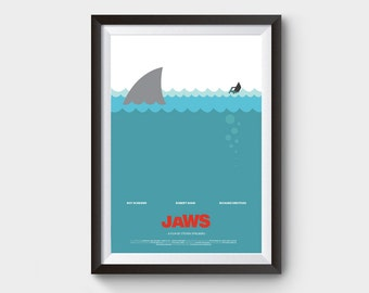 "JAWS - movie poster: 12x16"" art, print, illustration, shark, fish, boat print, sea poster, jaws poster, film poster, minimalist movie poster"