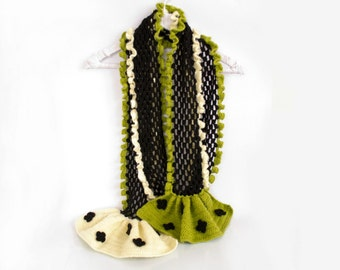 Bohemian Crochet Ruffle Flower Scarf in Lime Green Black and White, Romantic Boho Accessories