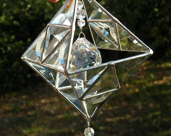 clear geometric beveled glass sun catcher stained glass