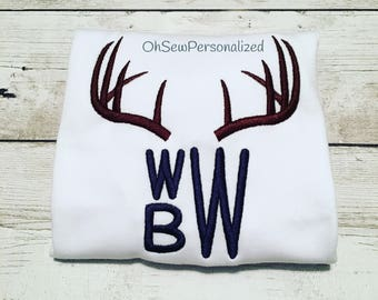 Deer Antler Monogram Shirt / Deer Antler Monogram Onesie / Deer Antler Monogram / Deer Antler Shirt / Deer Antler Boy Monogram Shirt