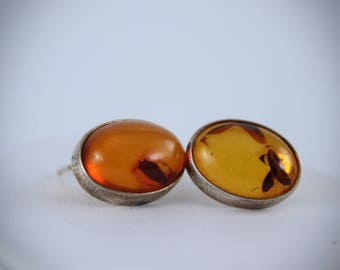Vintage Pair of Amber Earrings Set in Sterling Silver with Inclusions in Each