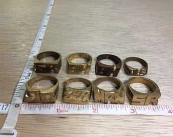 Vintage Lot Of 8 Brass Rings Assorted Sizes Initials Used