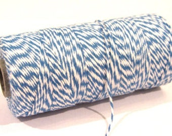 Denim Blue & White Bakers Twine, 240 yards / 219 m. 1 spool