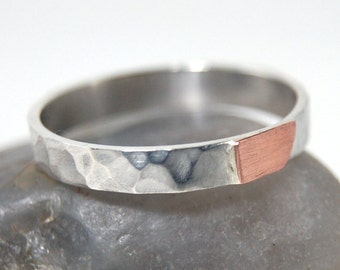 Womens Hammered Wedding Copper Band, Womens Hammered Copper Wedding Ring, Hammered Silver and Copper Ring