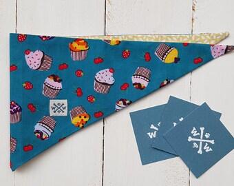 """Dog bandana """"Muffin"""", Male bandana,female bandana,candy bandana,spring bandana,reversible bandana,blue candy bandana"""