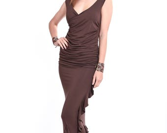 Bamboo Sleeveless Crossover Top Brown \ Vest Top \ Tank Top \ Tunic \ Stretch \ Yoga \ Yoga Top  \ Tantrica \ Tantra \ Tantric