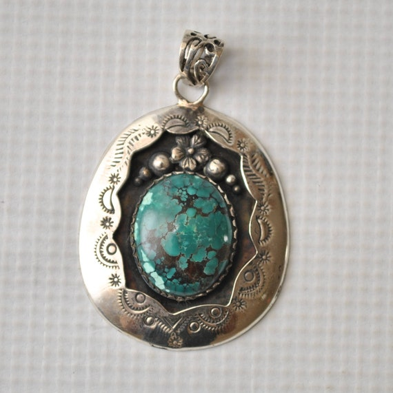 Sterling Silver Turquoise Pendant - Native American Style #9100