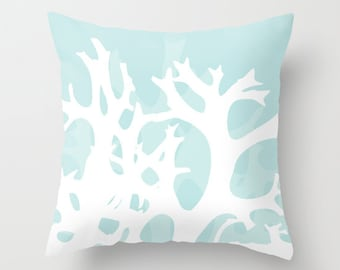 Coral Pillow  - Sea life Nautical Home Decor - Light Blue - Beach House Accent Pillow - Rustic Coral Decorative Pillow - Aldari Home