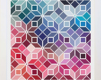 Small Counted Cross Stitch Rainbow Quilt Pattern