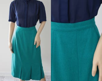 CLEARANCE - Pretty Teal Blue Turquoise Wool Midi Skirt