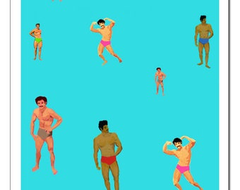 Multitudes of Mustachioed Muscle Men-Pop Art