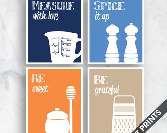 Funny Kitchen Art Print Set (Measure, Spice, Sweet, Grater) Set of 4 - Art Prints (Featured in Navy, Water Sports, Orange and Tan)