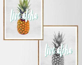 Live aloha, Pineapple print, Tropical art, Kitchen Wall art, Minimalist ,Digital art, Printable, Digital poster Instant Download 11x14,16x20