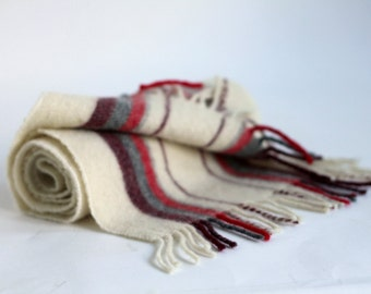 Off white red grey burgundy Pure wool vertical stripe Scarf Shawl