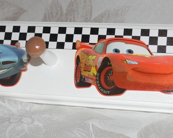 "Personalized Coat Rack with 6 Pegs . 34"" . Disney Cars theme . Matteo"