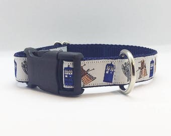 "Doctor Who themed 1"" wide adjustable dog collar"
