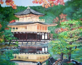 """The Golden Pavilion in Kyoto by Teresa Dominici  - Original Impressionist - 20""""x20"""" - Acrylic on Canvas"""
