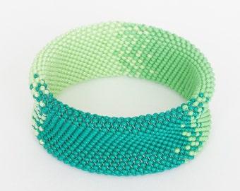 Tricolor Hand Woven Seed Bead Bracelet, Beaded Bracelet, Bead Mosaic Bracelet, Seed Bead Jewelry, Beaded Jewelry, Bohemian