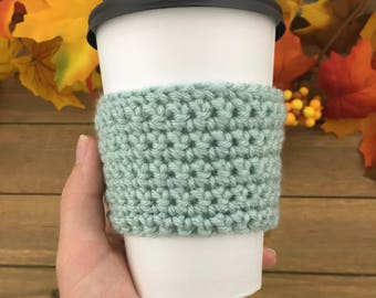 Coffee Cup Cozy Sleeve // Mint // Ready to Ship // Handmade // Thanksgiving // Stocking Stuffer // Christmas Gift