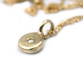 Gold Necklace,  Round Coin Pendant, Diamond Charm Necklace,  Charm Necklace, Diamond Necklace, Tula Jewelry.