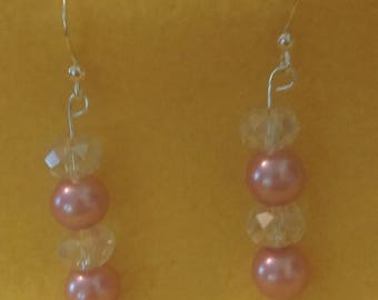 Silver drop earings with crystal and pink pearl beads