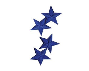Royal Blue Stars Iron On Applique, Blue Stars Iron on Patch, Stars Applique, Fun Patch, Kids Patch, Embroidered Patch