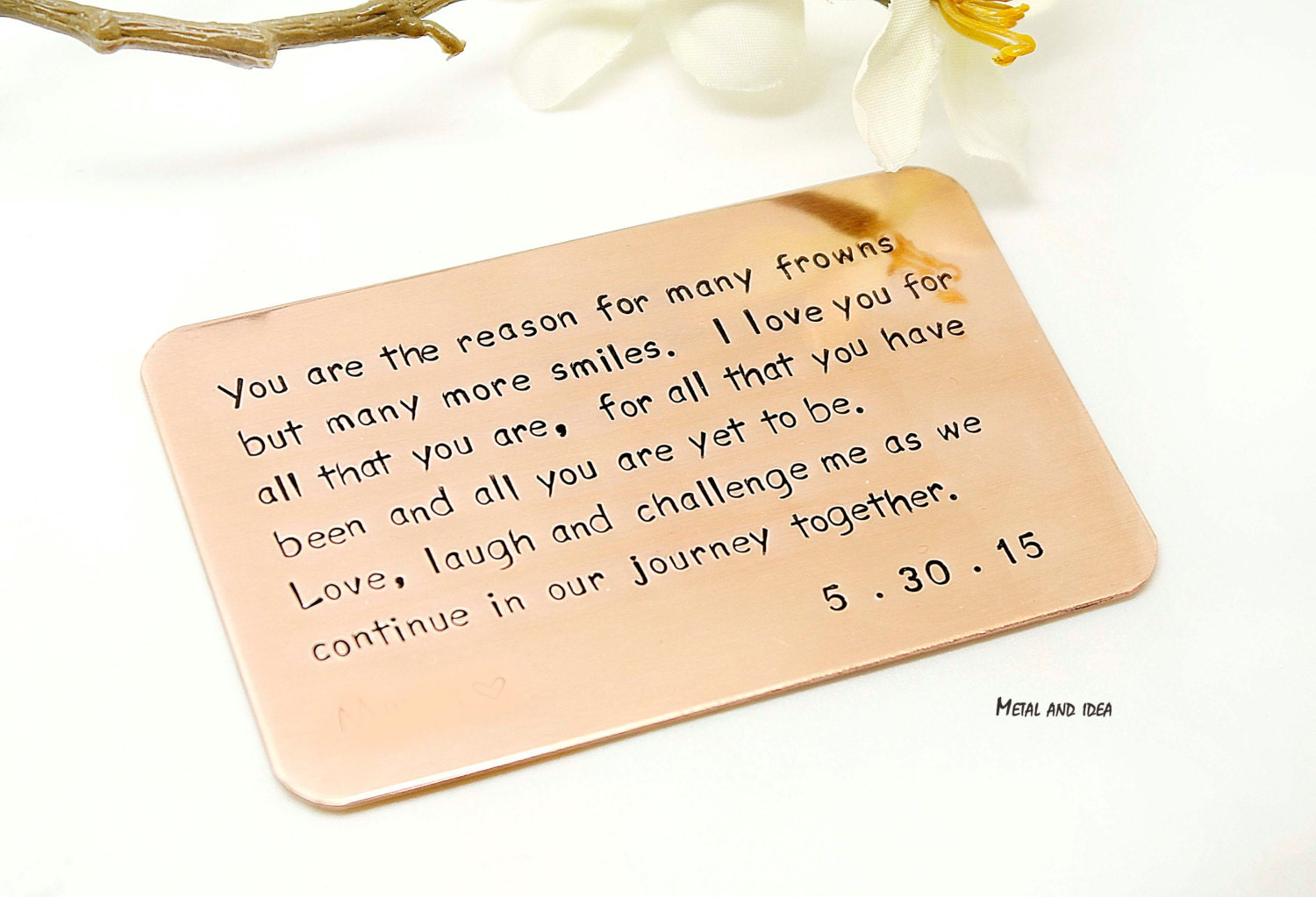 Copper wallet insert card customized personal messages husband gallery photo gallery photo gallery photo bookmarktalkfo Image collections