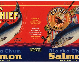 Original vintage Tin Can label 1950s Chief American Indian Salmon Alaska Packers San Francisco