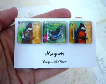 Square Glass Magnet set - Australian Stamp Collection - Australian Butterflies
