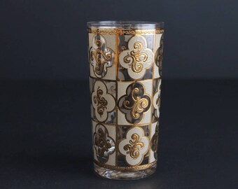 Vintage Culver Glassware Single Highball Tumbler 22k Gold and Frosted Square Design Barware Pattern CV16 Replacement Glass
