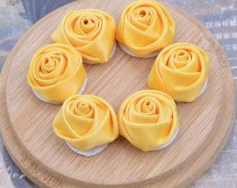 Yellow satin flowers etsy 30 yellow gold rose flowers satin roses satin flowers fabric ribbon flowers applique rose wholesale flowers handmade flowers 20mm mightylinksfo