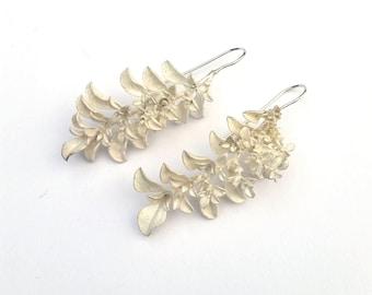 Botanical silver earrings, nature cast. Large, unique jewellery. Women's drop earrings.