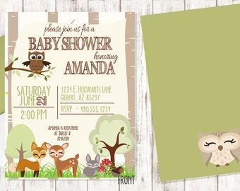 Woodlands Baby Shower Invitation Boy or Girl