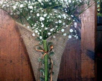 Woodland & Copper Natural Hessian Burlap Rustic Pew Cone and Chair Cone