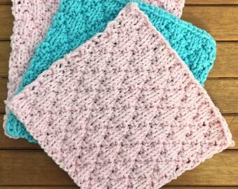 Knitted 100% cotton washcloth, eco-friendly cloth, cotton dishcloth