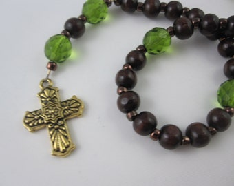 Wood and Olive Fire-Polished Glass Prayer Beads