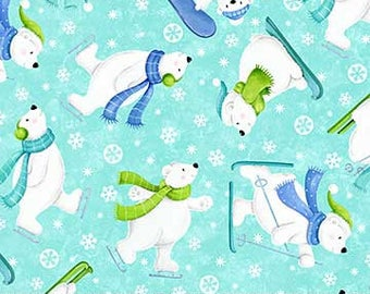 Tossed Bears Turquoise Flannel - Snow Bears by Deborah Edwards for Northcott - Flannel Fabric - Christmas Flannel - Bears Flannel