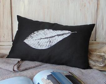 Black decorative pillow, rustic, linen textile, leaf, home decor, pillow case, accent pillow, 16x24