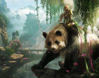 5x7 Photo. Fantasy Art, Girl Riding A Panda