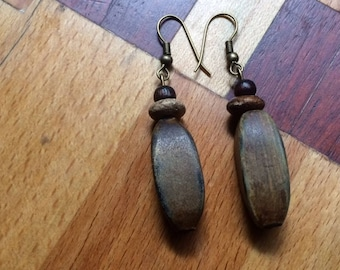 1757 -Earrings -African and Indian  Wood