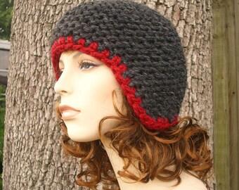 Oreille gris Rabat chapeau Mens chapeau femmes chapeau - casque mousse gris anthracite bonnet - chapeau gris gris femmes accessoires hiver bonnet